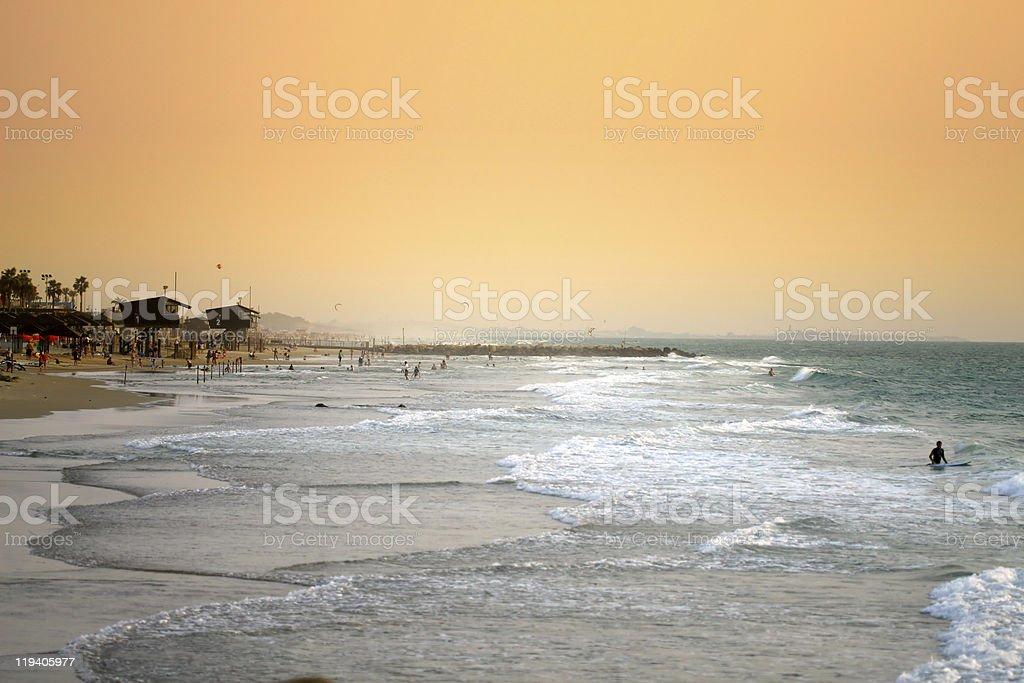 Haifa beach sunset stock photo
