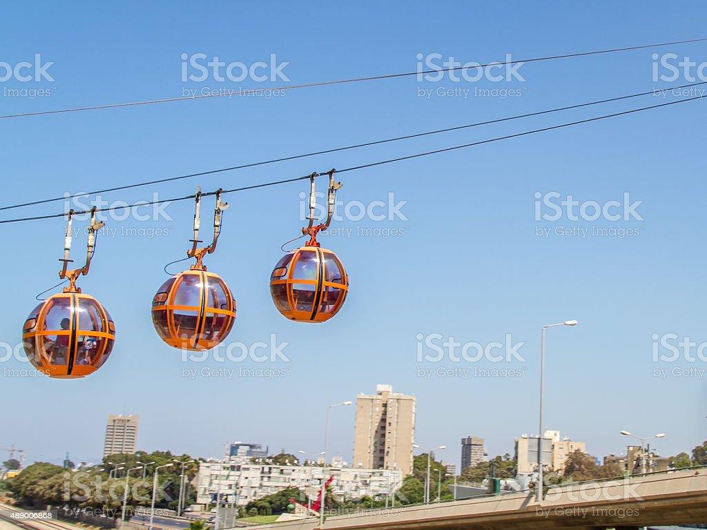 Haifa Cable Cars, city stock photo