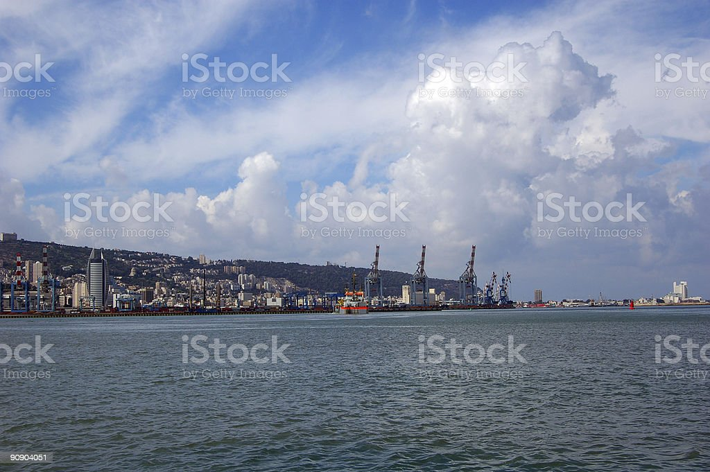 Haifa Port Israel stock photo