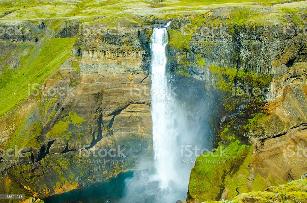 Haifoss - Waterfall in Iceland stock photo