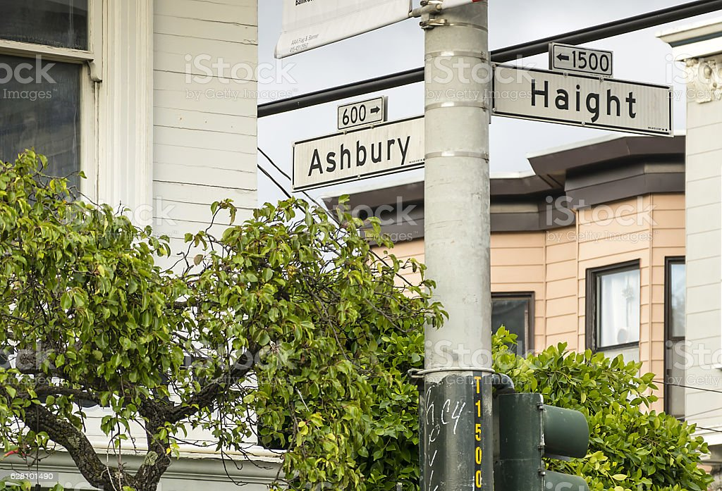 Haight and Ashbury in San Francisco. stock photo