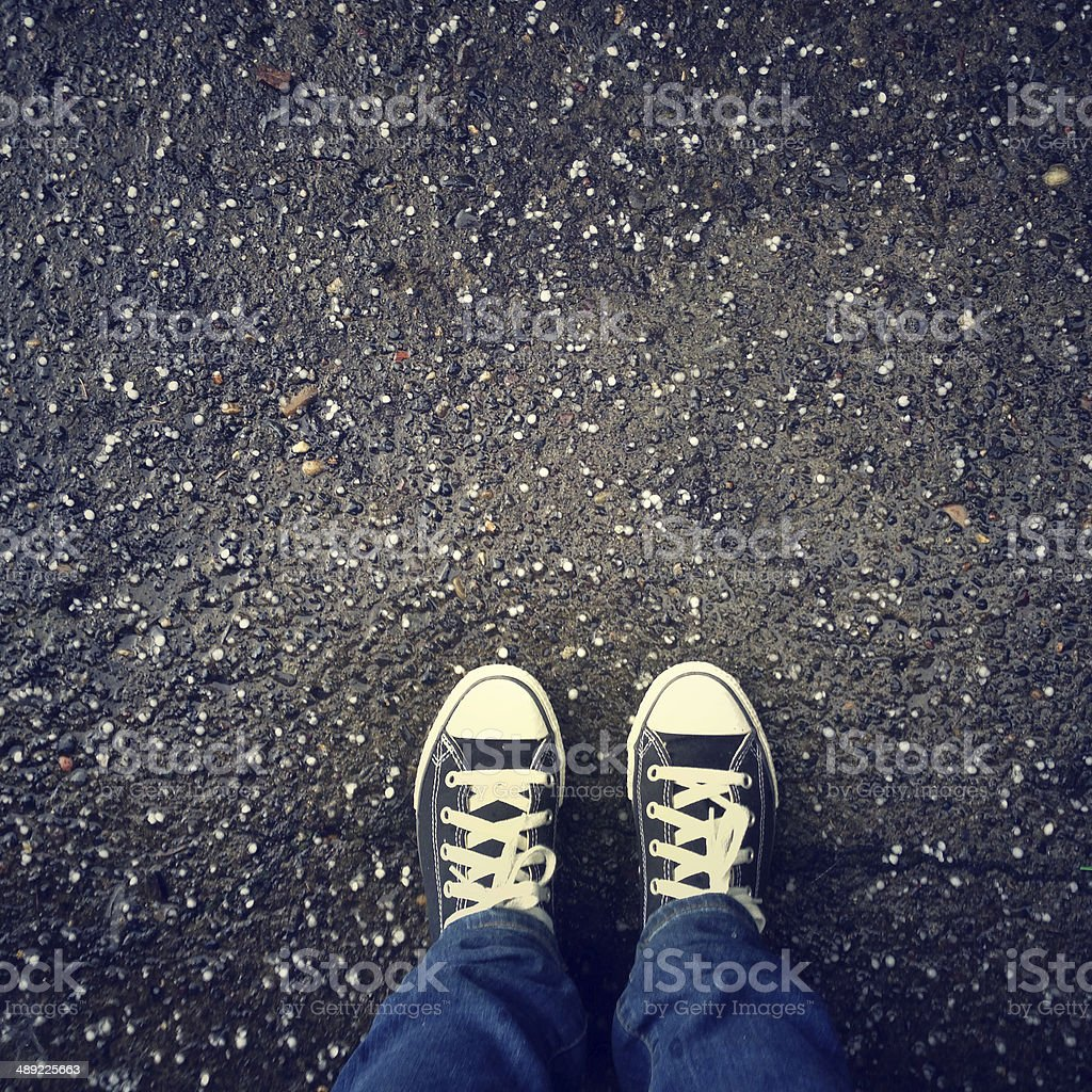 Hail and Shoes stock photo