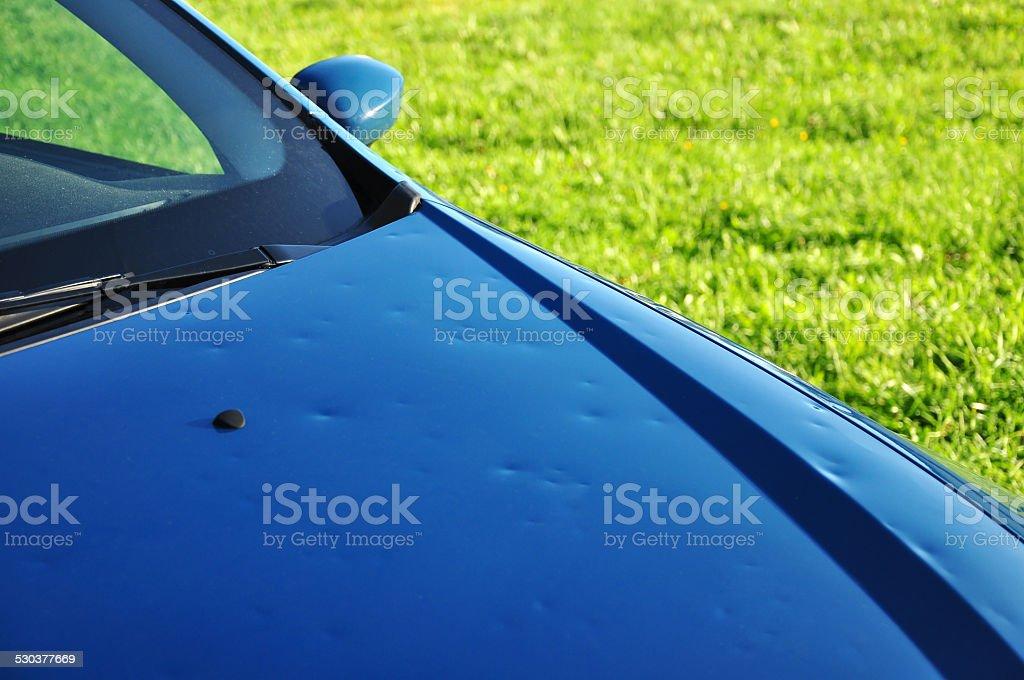 hail damage stock photo