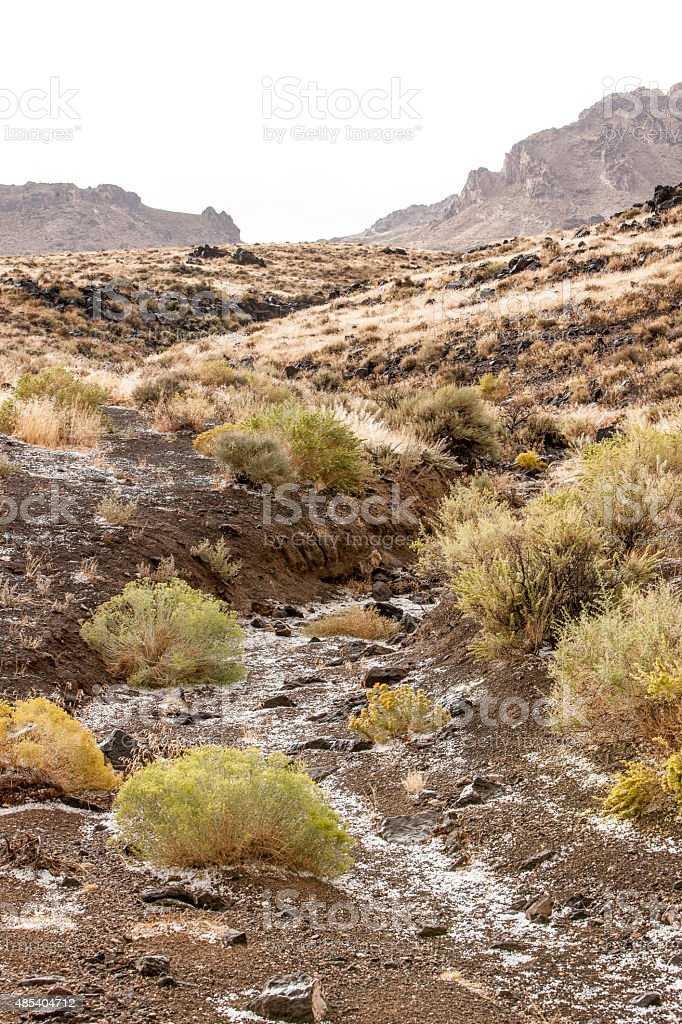 Hail In The Desert stock photo