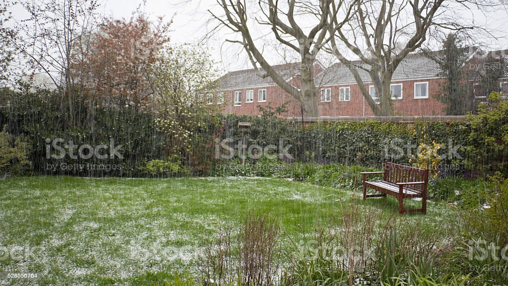 Hail storm in spring stock photo