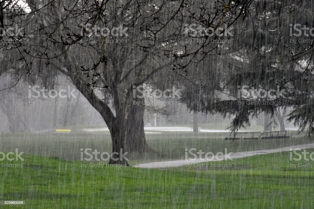 Hail storm on a golf course stock photo