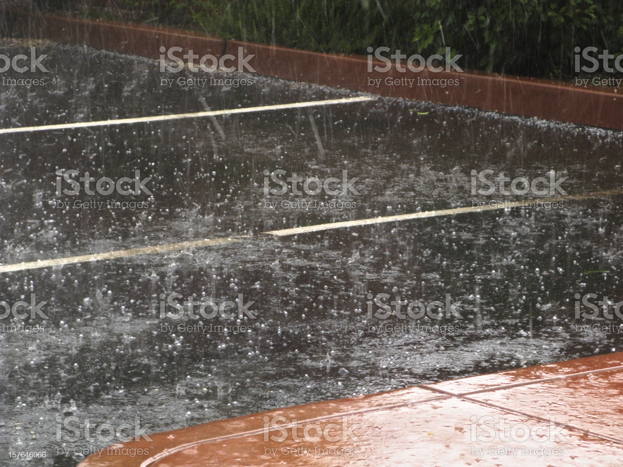 Hailstone Storm Hailstorm Parking Lot royalty-free stock photo