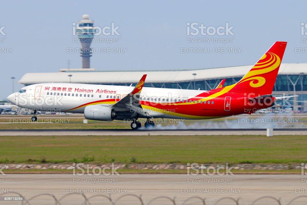 Hainan Airlines aircraft landing at Shanghai stock photo