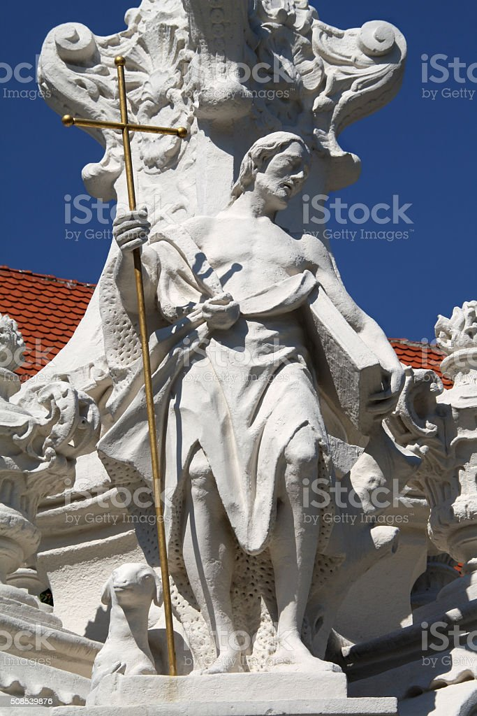 Hainburg an der Donau - Saint John the Baptist statue stock photo