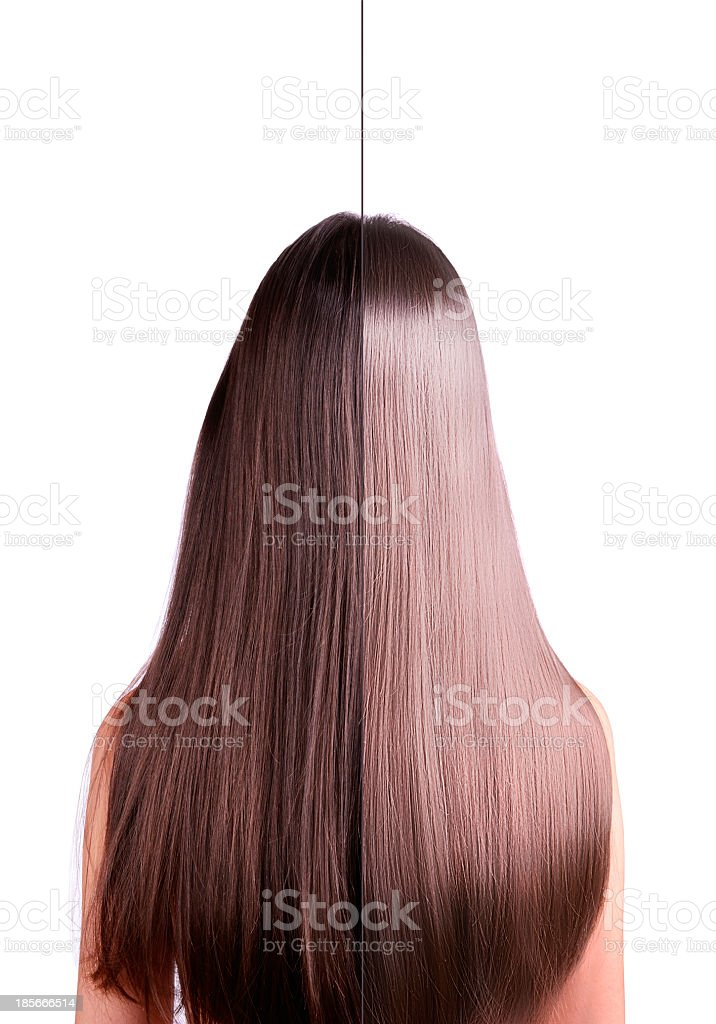 hair 2 in 1 straightening before and after stock photo