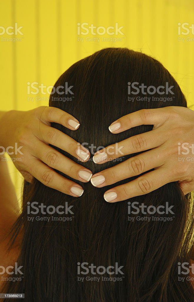 hair and hands royalty-free stock photo