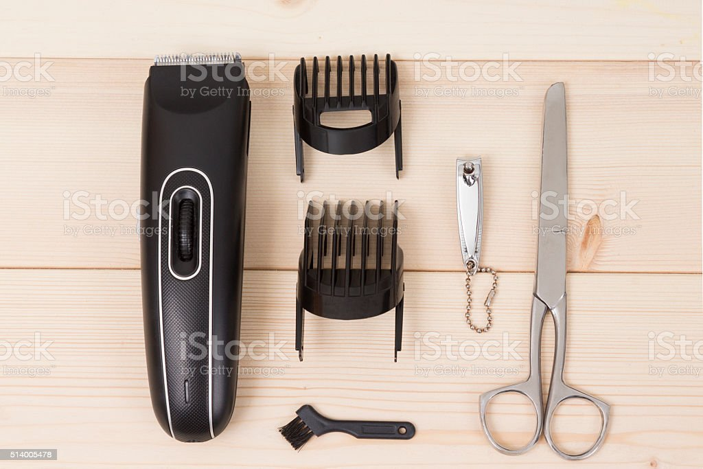 Hair and nails care set, flat lay stock photo