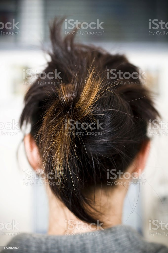 Hair Back of head woman facing away tied in bun. royalty-free stock photo