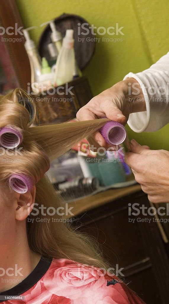 Hair being Styled stock photo