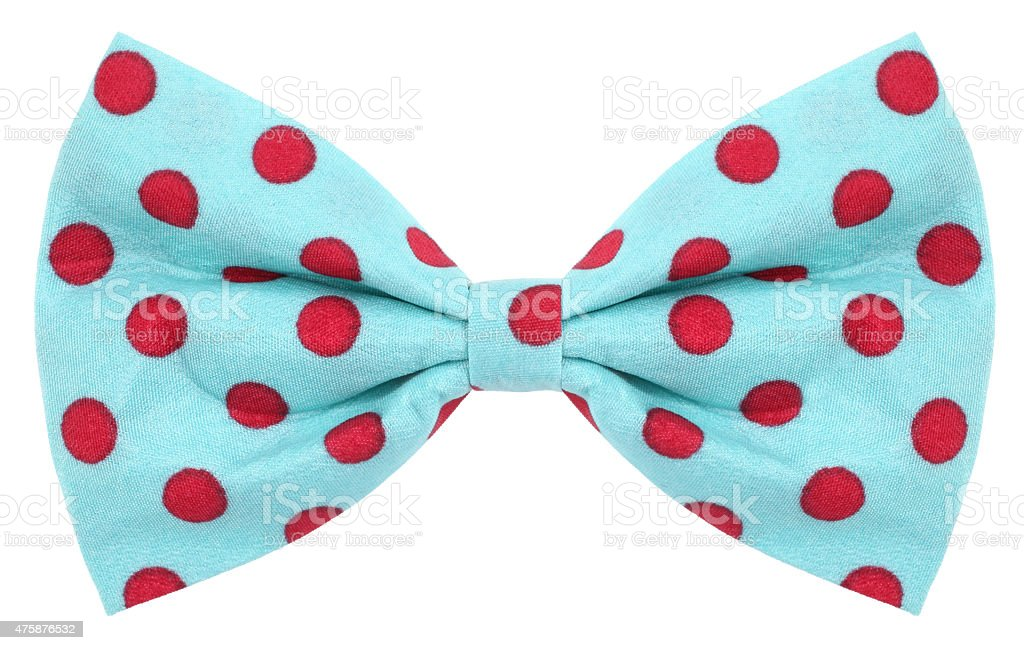 Hair bow tie turquoise with red dots stock photo