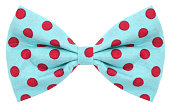 Hair bow tie turquoise with red dots