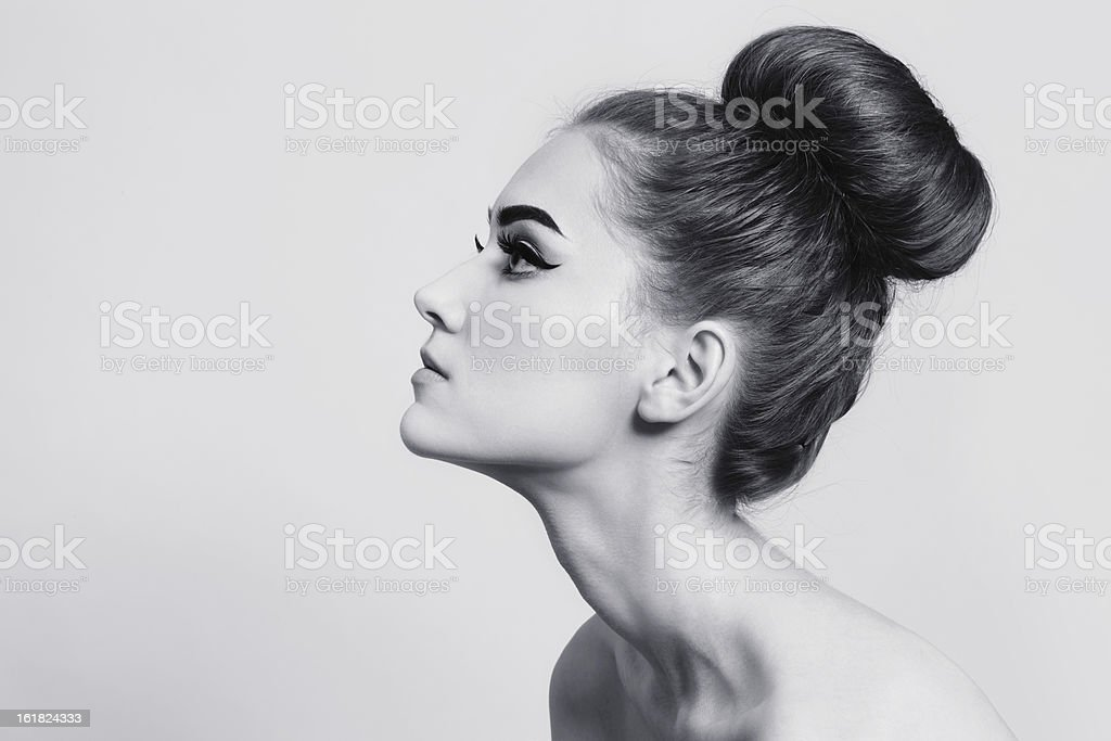Hair bun stock photo