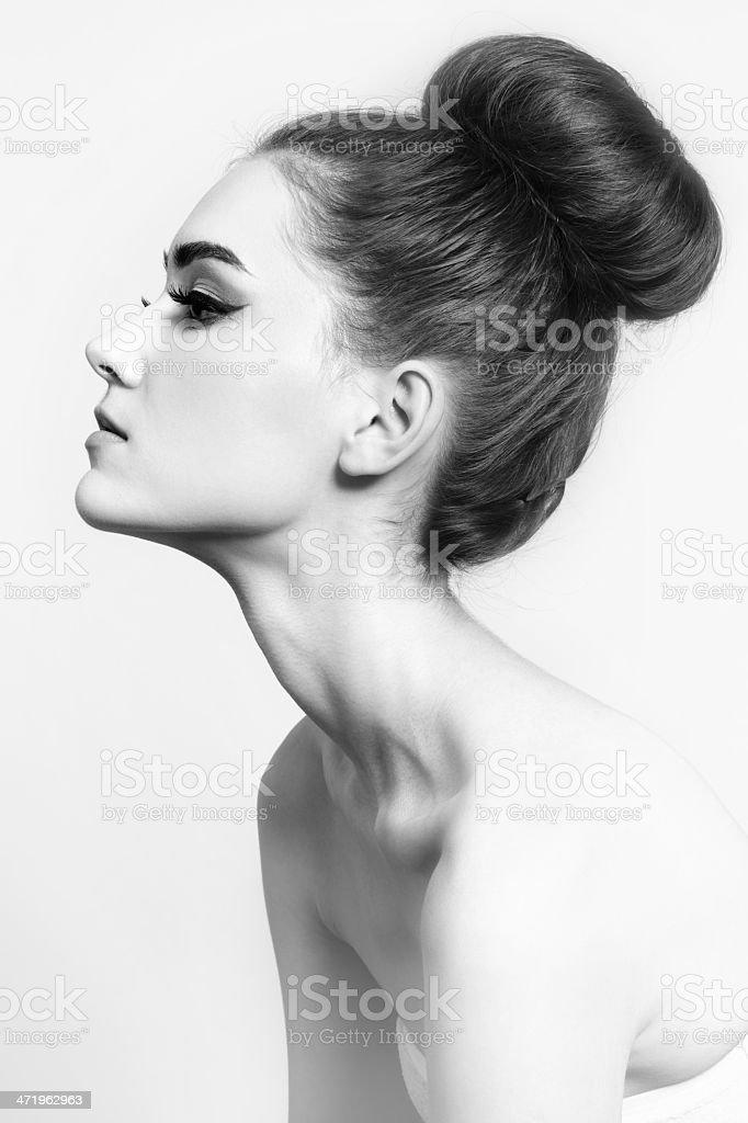Hair bun stock photo
