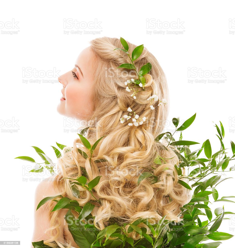 Hair Care, Woman Model Long Hair and Organic Leaves, White stock photo