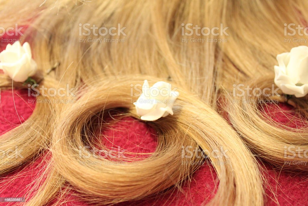 Hair circles with white roses royalty-free stock photo