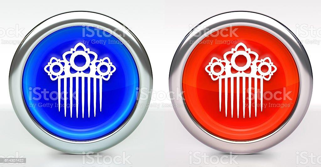 Hair Clip Icon on Button with Metallic Rim stock photo