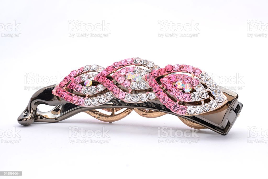 hair clip with rhinestones isolated on a white stock photo