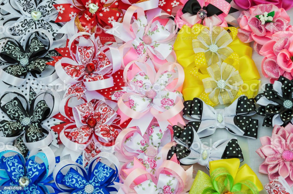 Hair clips out of ribbon stock photo