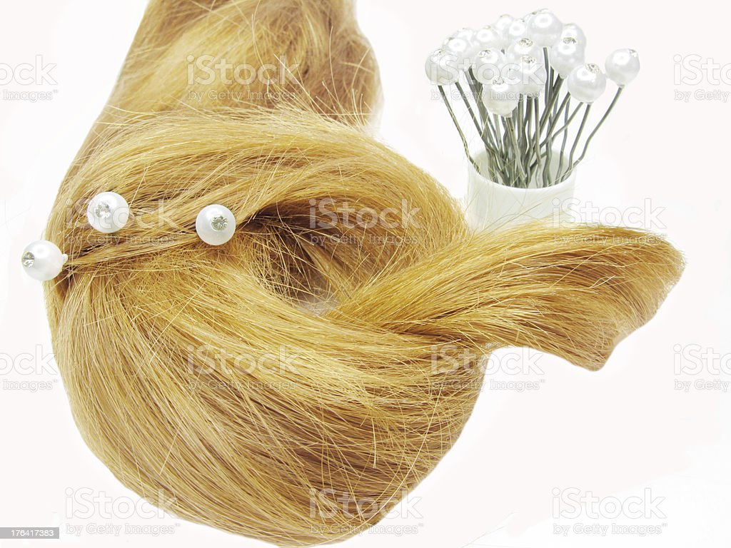 hair coiffure with hairpins in it royalty-free stock photo