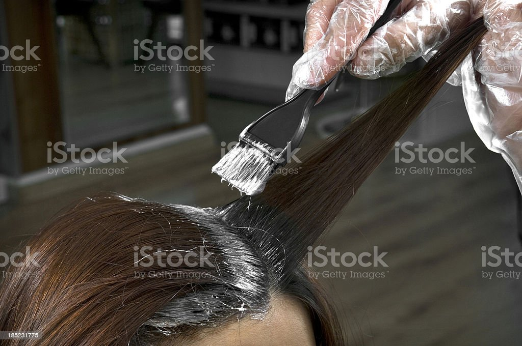 Hair coloring at the hairstudio royalty-free stock photo