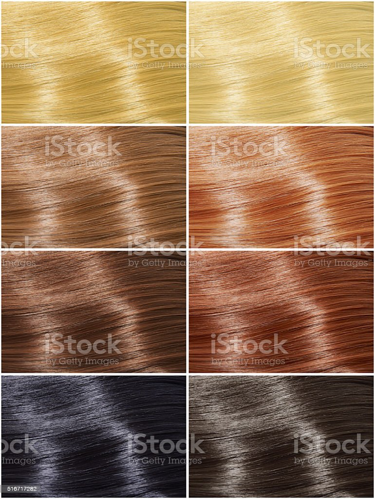 Hair colors set, tints stock photo