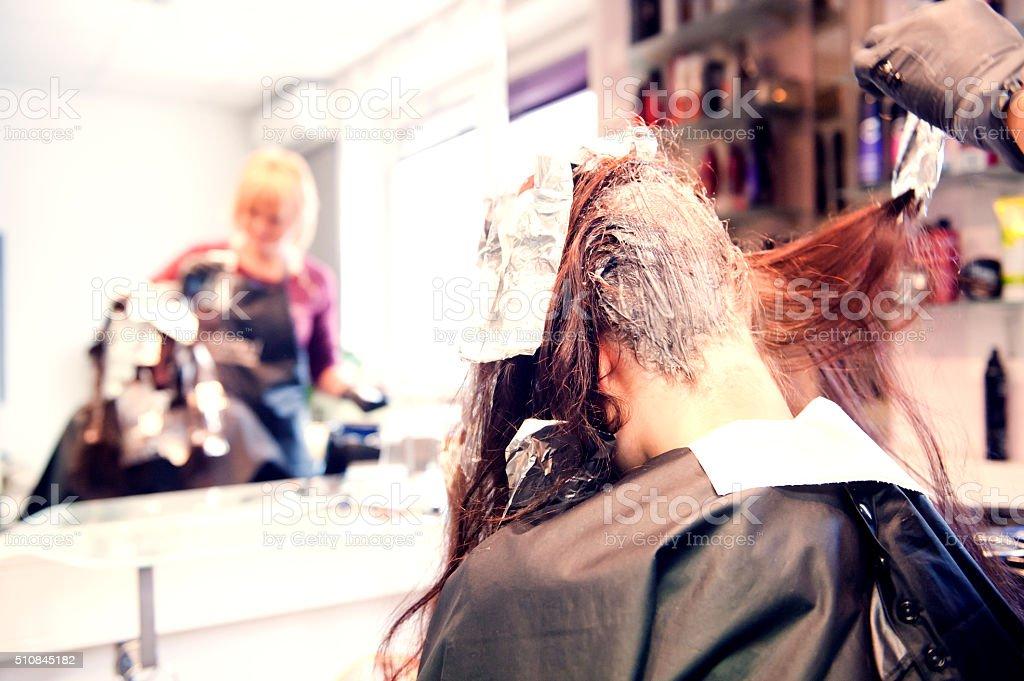 Hair colouring stock photo