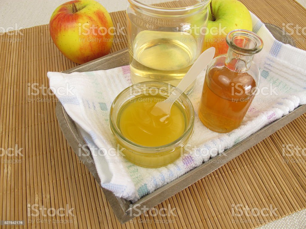 Hair conditioner with apple cider vinegar and honey stock photo