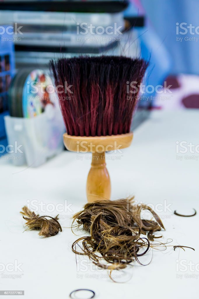 Hair cut off on white background stock photo