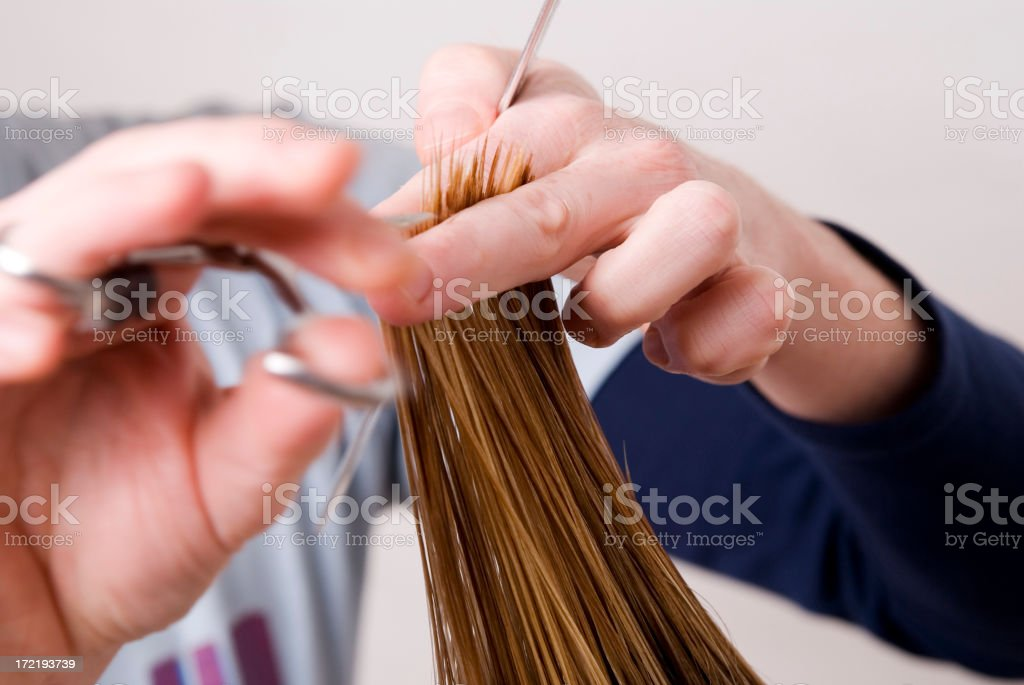 Hair Cutting At Hairdresser stock photo
