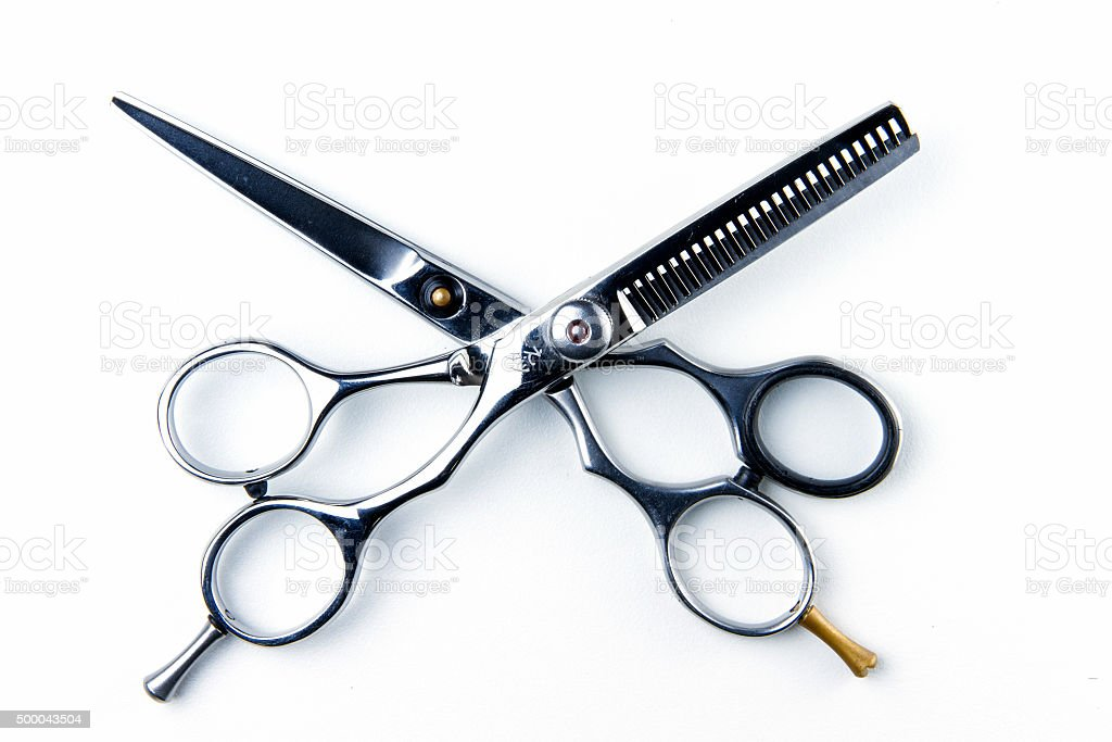 hair cutting scissors for hairdressers. stock photo