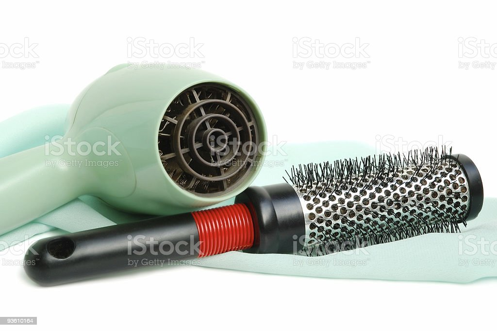 Hair dryer and hairbrush royalty-free stock photo