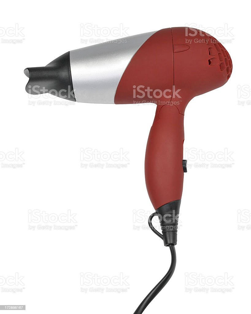 Hair dryer (clipping path), isolated on white background royalty-free stock photo