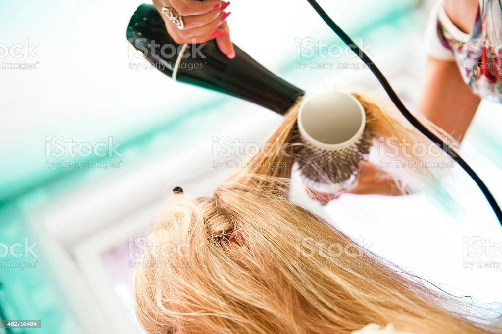 Hair drying stock photo