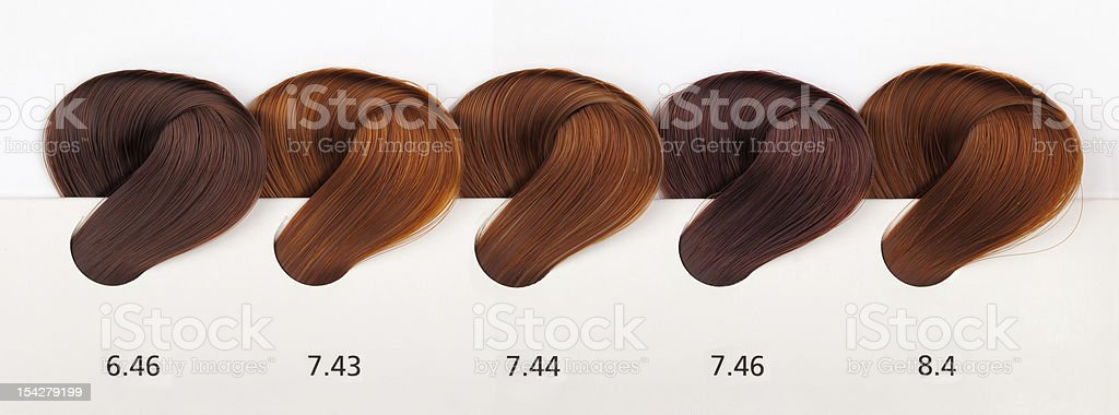 Hair Dye Color Swatches - Copper Tones stock photo