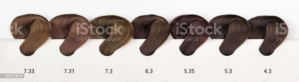 Hair Dye Color Swatches - Gold-Dore Tones royalty-free stock photo