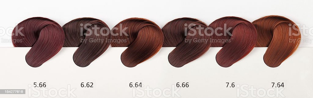 Hair Dye Color Swatches - Reds Tones royalty-free stock photo