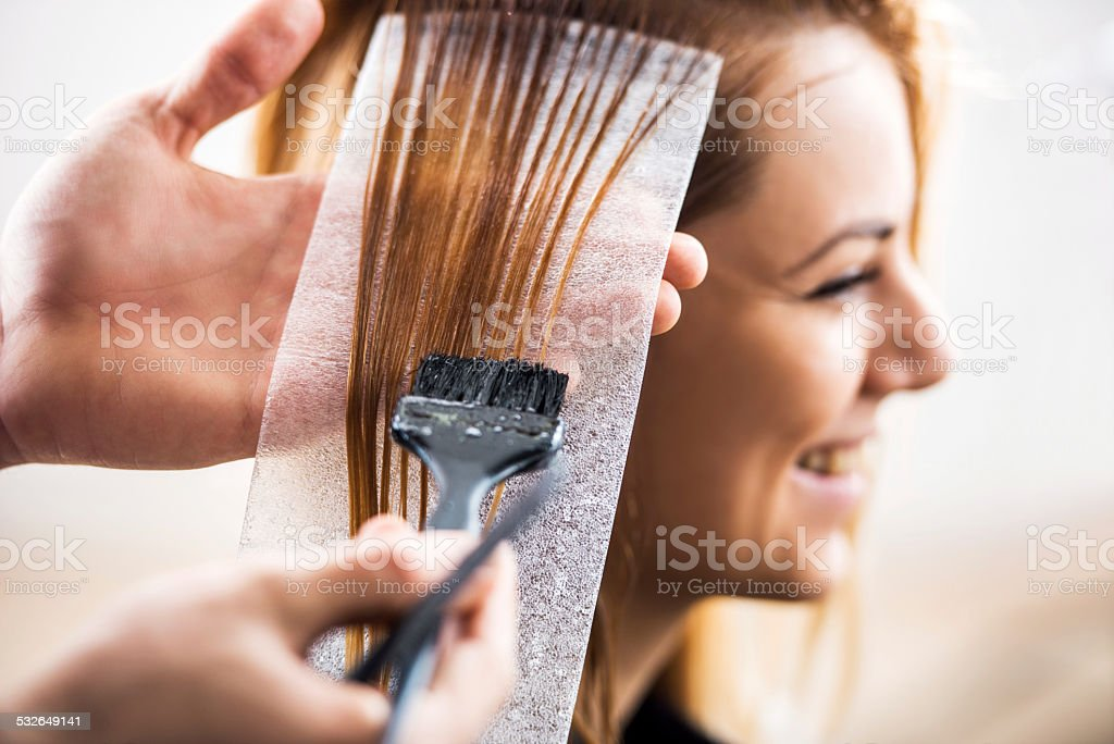 Hair dyeing. stock photo