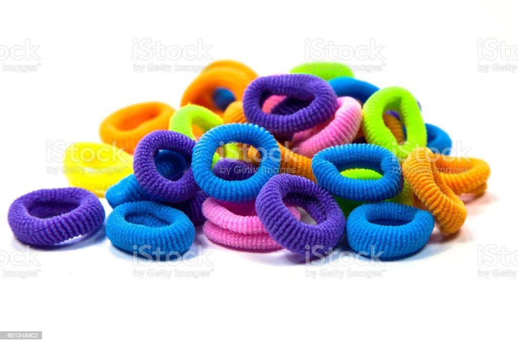 Hair elastic bands stock photo