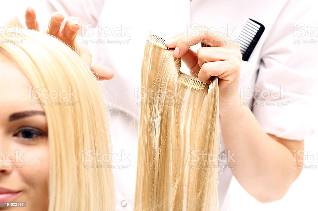 Hair extensions stock photo