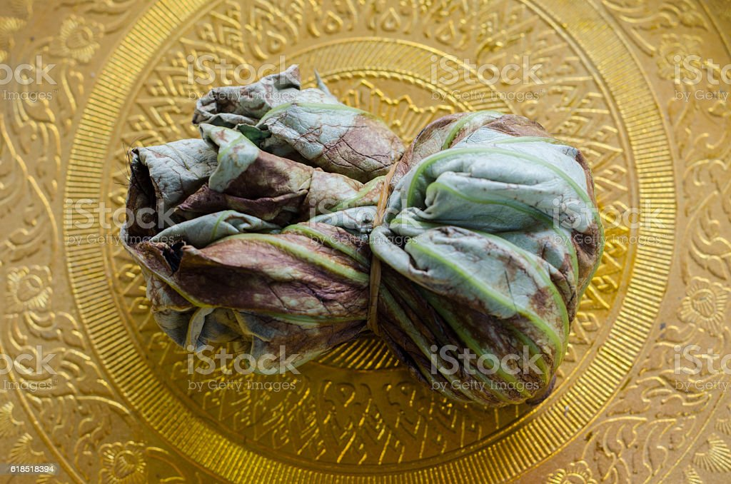 Hair in lily-pad on gold tray. stock photo