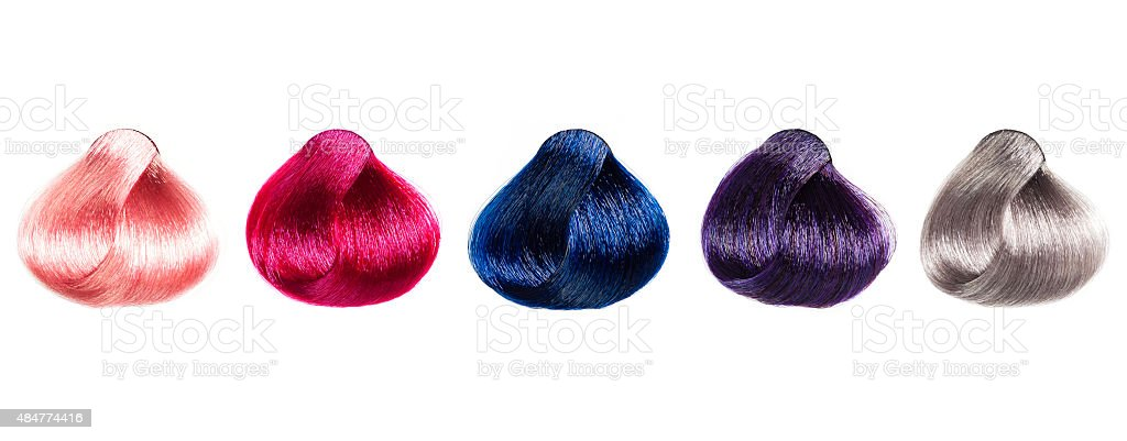 Hair Palette samples of different colors. stock photo