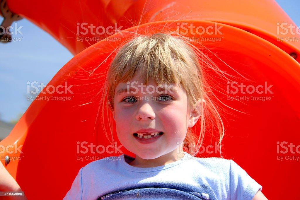 Hair raising slide royalty-free stock photo