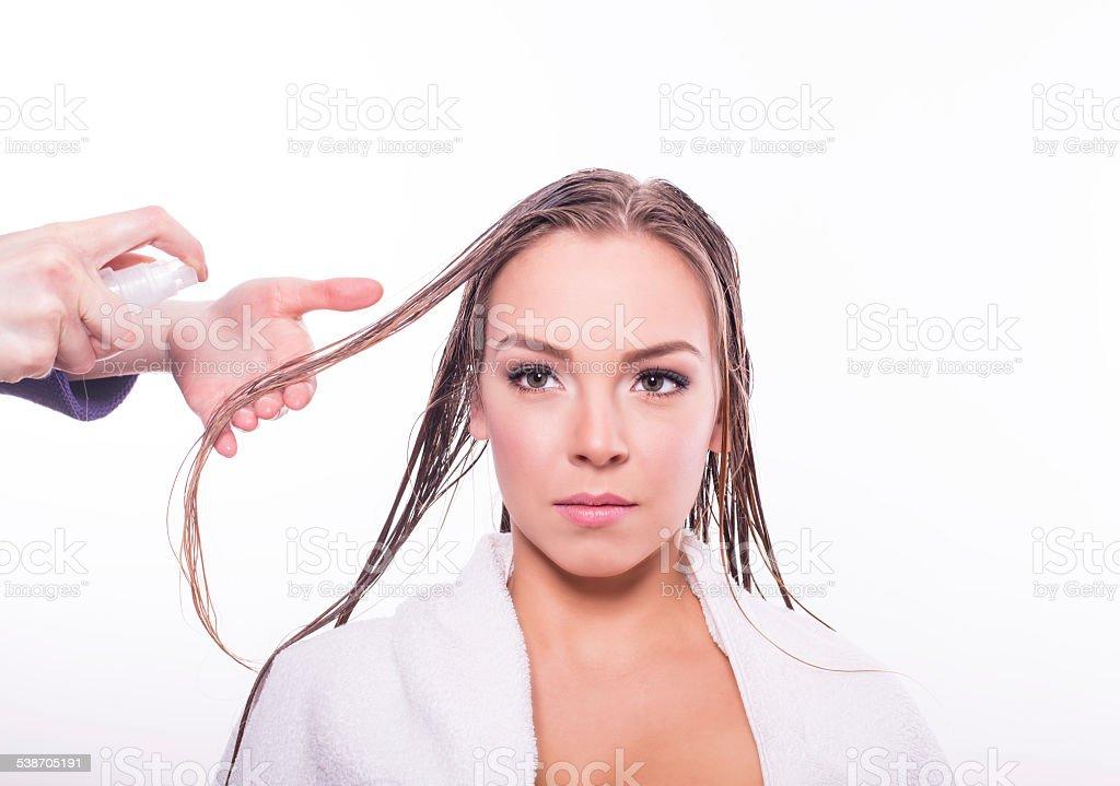 Hair repair treatment stock photo