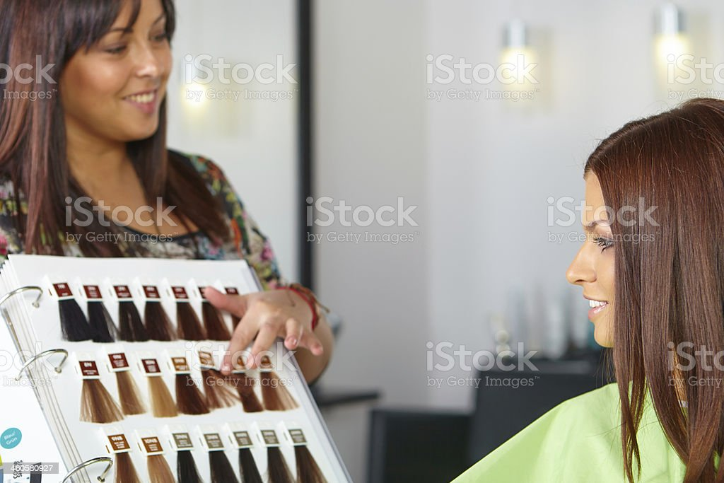 Hair salon. Choice of color. stock photo