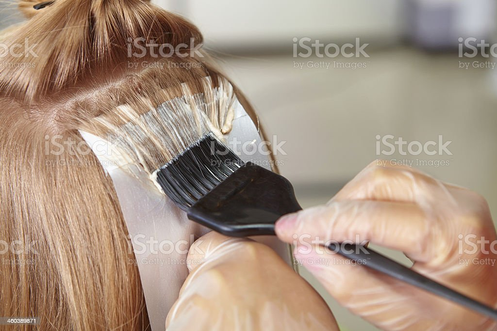 Hair salon. Coloring. stock photo
